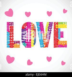 Amore testo vettoriale con molte parole correlate e cuori rosa.