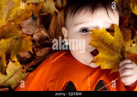 Dolce Laughing baby girl giocando con una zucca enorme di indossare una maglia zucca hat su sfondo bianco Foto Stock