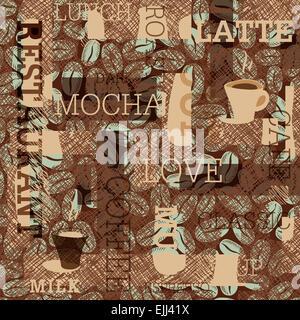 Il caffè a tema sfondo senza giunture Foto Stock
