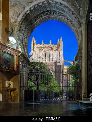 Cattedrale di Siviglia di notte dalla porta del perdono ex moschea almohade gate e il Patio de los Naranjos arance Foto Stock