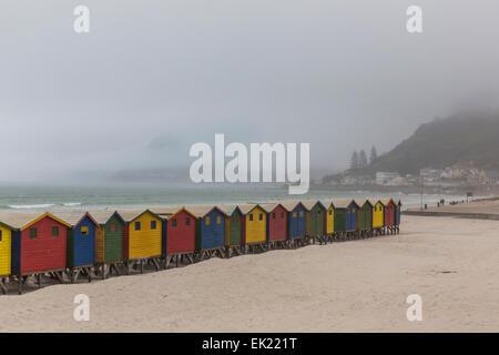 Multi-colore estate spiaggia cabine sulla spiaggia di Muizenberg, Western Cape, Sud Africa. Foto Stock