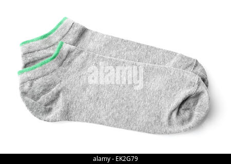 Coppia di grigio calze sportive isolati su sfondo bianco Foto Stock