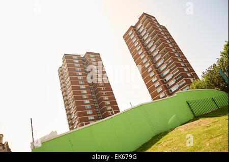 Consiglio di due blocchi a torre di Londra , Inghilterra Foto Stock