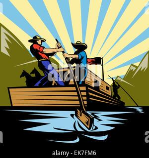 Cowboy uomo flatboat sterzo lungo il fiume Foto Stock