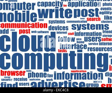 Il cloud computing - sfondo di parola Foto Stock