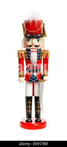 Dado di Natale Cracker soldato isolato su sfondo bianco. Foto Stock