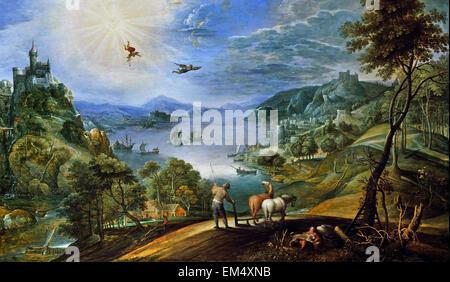 Marten Ryckaert ( Anversa 1587 - 1633 Anversa ) paesaggio con gli agricoltori di aratura e la caduta di Icaro 1620/30 Foto Stock