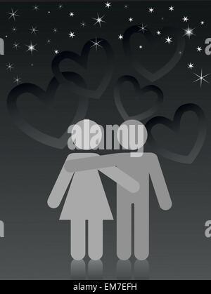 Amanti sotto un cielo stellato Foto Stock