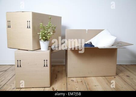 Cartoni per trasloco Foto Stock