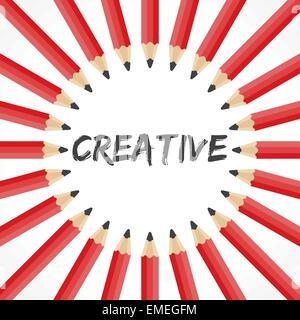 Parola creativa con la matita sullo sfondo il vettore di stock Foto Stock