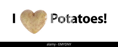 'I love (cuore) patate Foto Stock