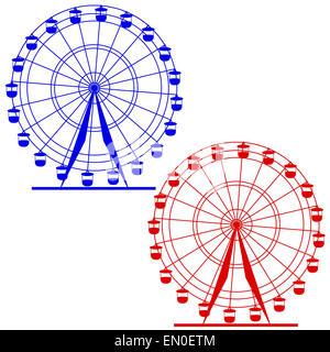 Silhouette atraktsion colorata ruota panoramica Ferris. Illustratio vettore Foto Stock