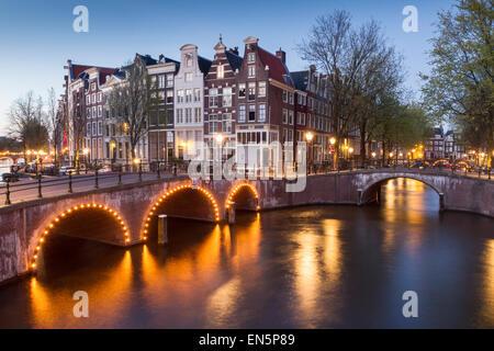 Leidsegracht di notte, Amsterdam, Olanda