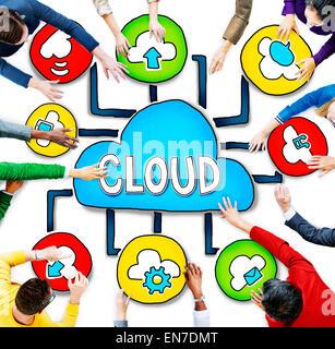Vista aerea di persone e concetti di elaborazione cloud Foto Stock