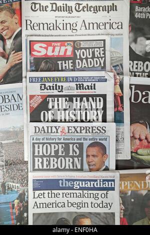 Giornali Britannici in seguito alla cerimonia di insediamento del Presidente Barack Obama il 20 gennaio 2009. Foto Stock