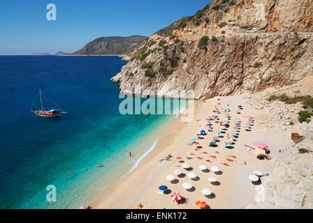 Spiaggia di Kaputas, vicino a Kalkan, Lycia, Provincia di Antalya, costa mediterranea, a sud-ovest della Turchia, Foto Stock