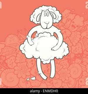 Illustrazione Vettoriale carino disegnato a mano agnello rasato trattenendo il suo cappotto. Biglietto di auguri anno nuovo. Il concetto di carattere sulla abstra