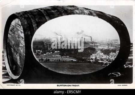 Le fabbriche di birra, Burton on Trent, Staffordshire, Inghilterra. Industria della birra 1922 Foto Stock