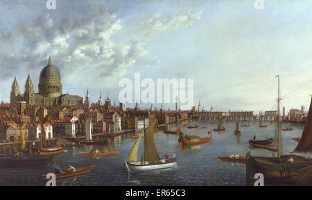 Una vista del Tamigi guardando verso il Ponte di Londra con la Royal Barge, da William James (fl. 1730-1780). Foto Stock