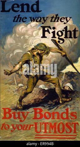 Prestare il loro modo di combattere, acquistare le obbligazioni per il vostro massimo. Poster raffigurante soldato Foto Stock