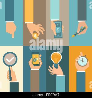 I concetti di business in uno stile piatto - le icone delle mani Foto Stock