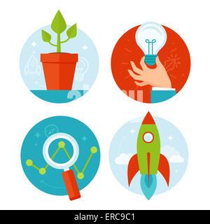 Lo sviluppo personale e la crescita del business dei concetti in uno stile piatto - infografico elementi di design Foto Stock