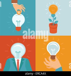 Idea concetti in stile appartamento - lampadine icone - Innovazione e ispirazione illustrazioni Foto Stock