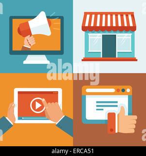 Il marketing digitale i concetti in uno stile piatto - infographics e icone - online digital media Foto Stock