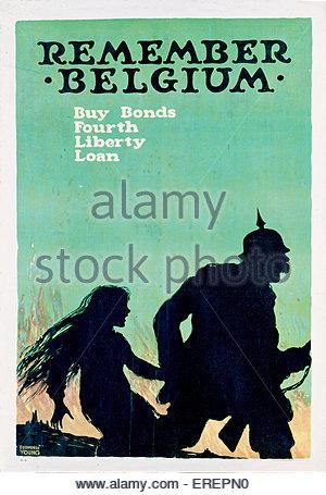 Ricordate il Belgio - American parola guerra i poster, 1918. Da Ellsworth giovani. Per incoraggiare le persone a Foto Stock