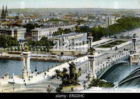 Pont Alexandre III, Parigi, c. 1900. Panorama ripreso dal Grand Palais.