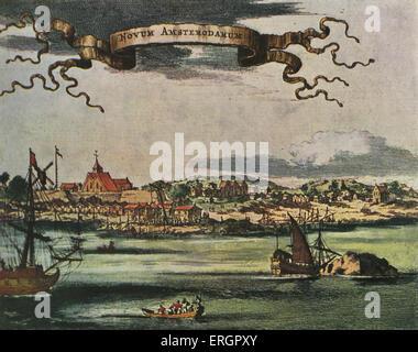 New Amsterdam, xvii secolo vista. Insediamento olandese stabilita sulla punta meridionale di Manhattan Island, Stati Foto Stock