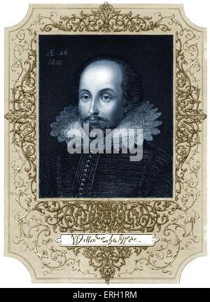 William Shakespeare, portrai con firma. Datata 1610. Inglese poeta e drammaturgo battezzato 26 Aprile 1564 - 23 aprile 1616. Foto Stock