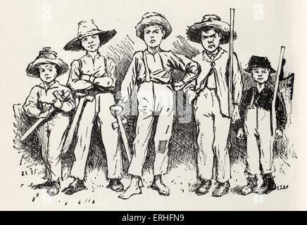 """Tom Sawyer e la sua banda di briganti - i protagonisti di Mark Twain del romanzo """"Le avventure di Huckleberry Finn' Foto Stock"""