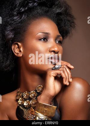 Bella giovane americano africano donna con grandi capelli indossare gioielli, bellezza artistica ritratto su sfondo Foto Stock