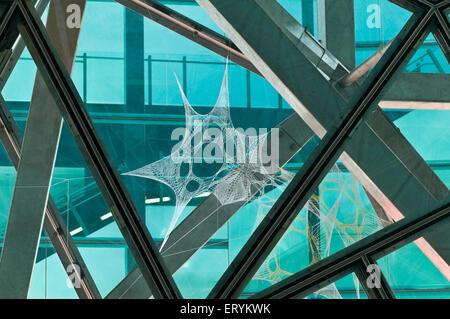 Installazione Web in vetro disegno disegno disegno forma architettura forma ; Melbourne ; Victoria ; Australia Foto Stock
