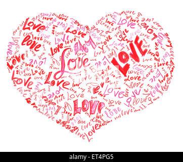 Cuore disegnato dalla matita riempita con amore le parole all'interno Foto Stock