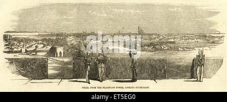 Militari e tire ammutinamento di Delhi viste dalla torre di flagstaff guardando verso sud-est ; India Foto Stock