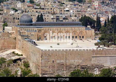 Gerusalemme, ISR - 05 maggio 2015:vista aerea della moschea Al Aqsa sul monte del tempio a Gerusalemme, Israele. Foto Stock