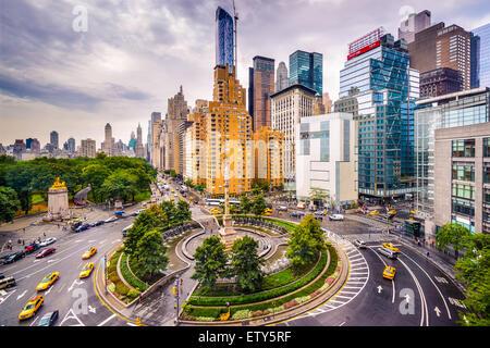 La città di New York, Stati Uniti d'America cityscape a Columbus Circle. Foto Stock
