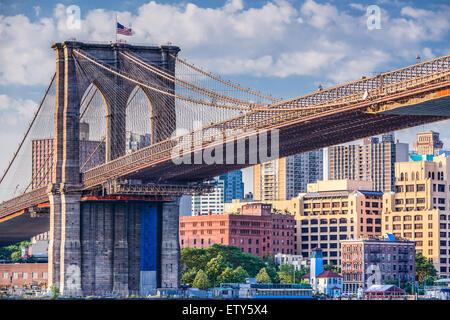 Ponte di Brooklyn a New York City. Foto Stock
