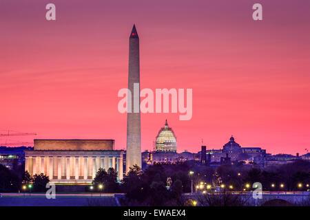 Washington DC, Stati Uniti d'America skyline. Foto Stock