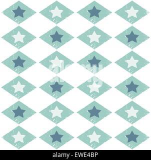 Seamless pattern grunge con stelle in una gabbia. Eps vettoriali8 Foto Stock
