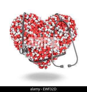 Cuore pillole stetoscopio, 3D render di medicina capsule cuore di formatura con uno stetoscopio avvolto intorno Foto Stock