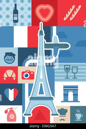 Collage illustrativa che rappresentano la vita della città e luoghi di interesse turistico di Parigi, Francia Foto Stock