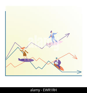 Rappresentazione illustrativa che mostra alti e bassi di business