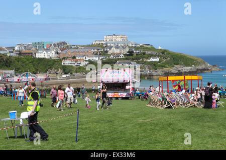 Killacourt, Newquay, Cornwall, Regno Unito. 4 Luglio, 2015. Giorno del festival si svolge il Killacourt sopra Towan Foto Stock