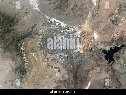 Colore immagine satellitare di Las Vegas, Nevada, USA. Immagine presa il 23 settembre 2014 con il satellite Landsat Foto Stock