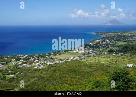 Vista dalla Brimstone Hill Fortress, Saint Kitts, Saint Kitts e Nevis, Isole Sottovento, West Indies, dei Caraibi e America centrale Foto Stock