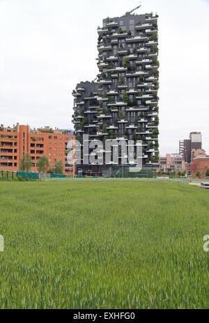 Bosco Verticale di edifici e campo di grano in Milano, Italia Foto Stock