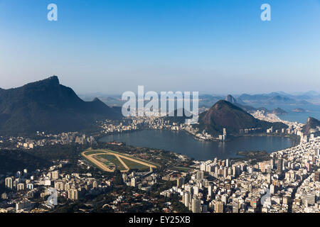 Vista di Ipanema e la Lagoa Rodrigo de Freitas, Rio de Janeiro, Brasile Foto Stock